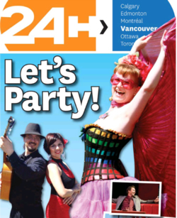 Sangre Morena on the cover of Vancouver's 24 Hours Magazine, advertising Carnaval del Sol.
