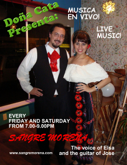 Sangre Morena performing on Friday and Saturday nights at Doña Cata