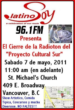 Sangre Morena joined other artists in the closing event of a radiothon for a momunent for the Latin American Community.