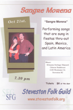 Sangre Morena performed in an intimate, acoustic evening with the Steveston Folk Guild.  October 21, 2010.