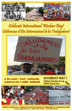 Sangre Morena performing for International Workers Day on Saturday, May 1 in the Cooperativa Chilena, 3390 School Avenue, Vancouver.
